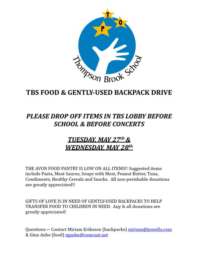 TBS FOOD & BACKPACK DRIVE 5/27 & 5/28